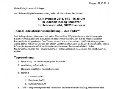 Einladung zur Mitgliederversammlung am 13. November 2018